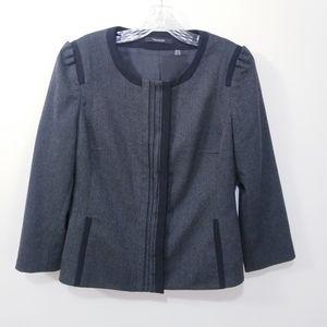 Tahari Ruffle Pleated Gray Blazer